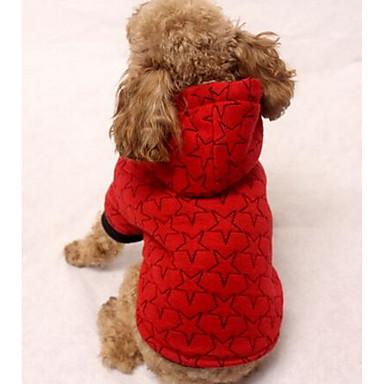 كلب المعاطف هوديس ملابس الكلاب نجوم أسود البيج رمادي أحمر قطن كوستيوم للحيوانات الأليفة كاجوال / يومي الرياضات
