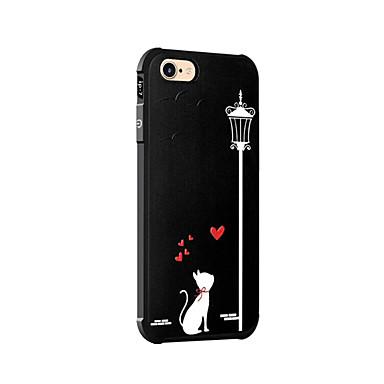 Kılıf Na Apple iPhone 7 Plus iPhone 7 Odporne na wstrząsy Wzór Czarne etui Kot Miękkie Silikonowy na iPhone 7 Plus iPhone 7 iPhone 6s