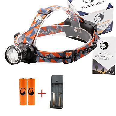 U'King Φακοί Κεφαλιού Μπροστινό φως 2000 lm 3 Τρόπος Cree XM-L T6 με μπαταρίες και φορτιστή Zoomable Ρυθμιζόμενη Εστίαση Μικρό Μέγεθος