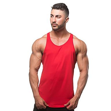 economico Abbigliamento uomo-Canotte Per uomo Sport / Spiaggia Attivo Basic, Tinta unita Cotone Grigio L / Senza maniche / Estate