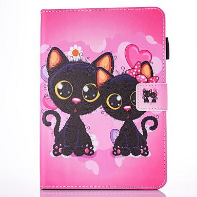 Etui Käyttötarkoitus Apple iPad Air 2 iPad Air Korttikotelo Tuella Flip Magneetti Kuvio Suojakuori Kissa Kova PU-nahka varten iPad Air