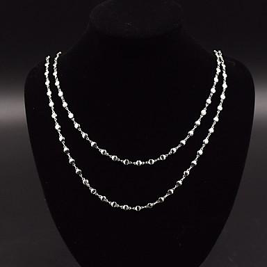 Dame Strands halskjede Kors damer Personalisert Geometrisk Dobbelt lag Legering Sølv Halskjeder Smykker Til Fest Spesiell Leilighet Engasjement