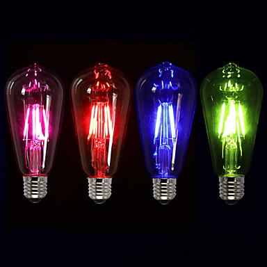 1 buc 4W 350 lm E26/E27 Bec Filet LED ST64 4 led-uri COB Decorativ Roz Verde Albastru Roșu 220V-240V