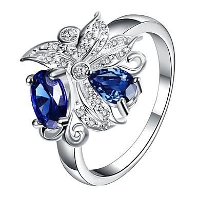 Kadın's Yüzük Kübik Zirconia Gümüş Mor Kırmzı Mavi Zirkon Bakır Gümüş Kaplama alaşım Çiçek Kişiselleştirilmiş Çiçek Wzór geometryczny