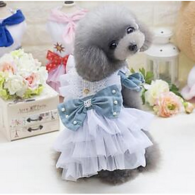 كلب الفساتين ملابس الكلاب جميل كاجوال/يومي أميرة أزرق داكن أخضر غامق كوستيوم للحيوانات الأليفة