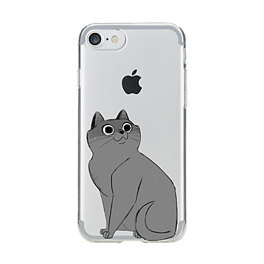 Pouzdro Uyumluluk Apple iPhone 7 Plus iPhone 7 Şeffaf Temalı Arka Kapak Kedi Yumuşak TPU için iPhone 7 Plus iPhone 7 iPhone 6s Plus