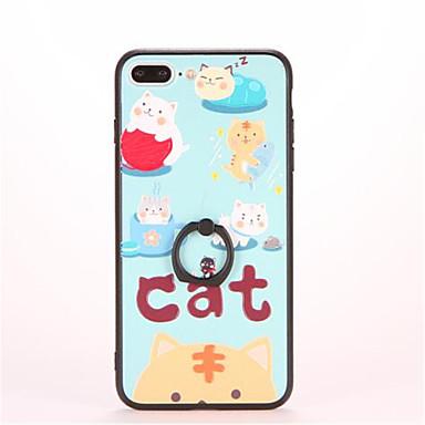 غطاء من أجل iPhone 7 Plus iPhone 7 iPhone 6s Plus أيفون 6بلس iPhone 6s ايفون 6 أيفون 5 Apple حامل الخاتم مطرز نموذج غطاء خلفي قطة قاسي