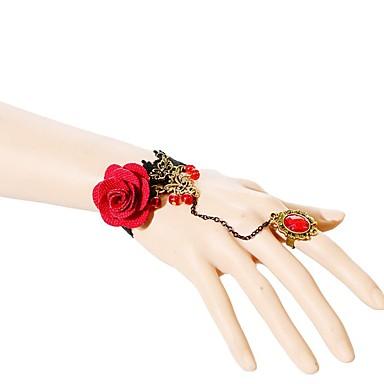 Γυναικεία Βραχιόλια με Αλυσίδα & Κούμπωμα Μοντέρνα Δαντέλα Flower Shape Triangle Shape Κόκκινο Κοσμήματα ΓιαΓάμου Πάρτι Ειδική Περίσταση