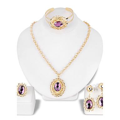 Pentru femei Ștras Placat Auriu Set bijuterii 1 Colier 1 Pereche de Cercei 1 Brățară 1 Inel - Clasic Modă Altele Mov Seturi de bijuterii