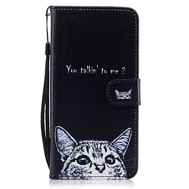 Για Πορτοφόλι Θήκη καρτών με βάση στήριξης Ανοιγόμενη Με σχέδια tok Πλήρης κάλυψη tok Γάτα Σκληρή Συνθετικό δέρμα για AppleiPhone 7 Plus