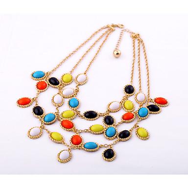 Kadın's katmanlı Kolyeler Oval Shape Eşsiz Tasarım Bohemia Stili Gökküşağı Mücevher Için 1pc