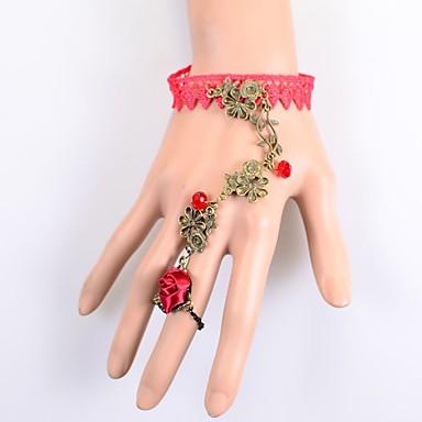 للمرأة أساور السلسلة والوصلة المجوهرات الفاخرة دانتيل Flower Shape أحمر مجوهرات إلى حزب مناسبة خاصة عيد ميلاد خطوبة 1PC