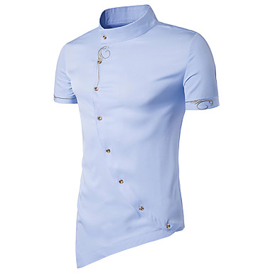 economico Abbigliamento uomo-Camicia Per uomo Stoffe orientali Basic, Tinta unita Colletto Mao - Cotone Blu marino L / Manica corta / Estate / Taglia piccola