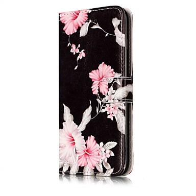 voordelige iPhone 5c hoesjes-hoesje Voor Apple iPhone X / iPhone 8 Plus / iPhone 8 Portemonnee / Kaarthouder / met standaard Volledig hoesje Bloem Hard PU-nahka
