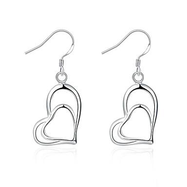 Damskie Kolczyki wiszące Biżuteria Klasyczny Serce Posrebrzany Heart Shape Biżuteria Na Ślub Impreza Codzienny Casual