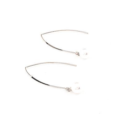Pentru femei Alphabet Shape Obsidian / Imitație de Perle Imitație de Perle - Personalizat / Γεωμετρικά / Euramerican Argintiu cercei