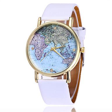 Bayanların Moda Saat Bilek Saati / Quartz PU Bant Havalı Dünya Haritası Desen Siyah Beyaz