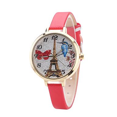 للمرأة ساعة المعصم كوارتز جلد فرقة كاجوال أسود الأبيض أزرق أحمر بني الوردي البيج روز
