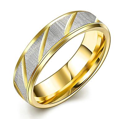 Damskie Kryształ Band Ring - Stal tytanowa minimalistyczny styl, Modny, Ślubny 6 / 7 / 8 Gold Na Prezenty bożonarodzeniowe / Ślub / Impreza
