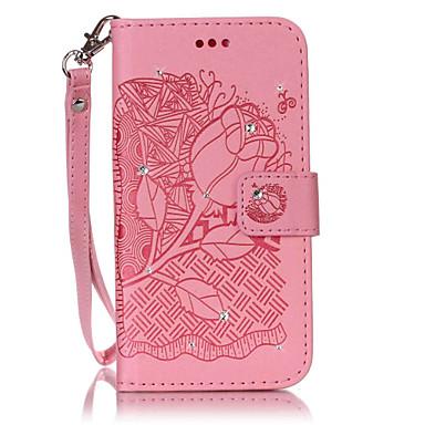 Kılıf Na Samsung Galaxy J7 (2016) J5 (2016) Etui na karty Portfel Z podpórką Flip Wytłaczany wzór DIY Pełne etui Kwiaty Twarde Skóra PU na