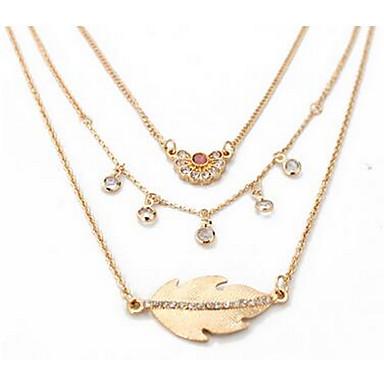 Pentru femei Coliere Layered Ștras La modă Euramerican Auriu Bijuterii Pentru Nuntă Zi de Naștere Zilnic 1 buc