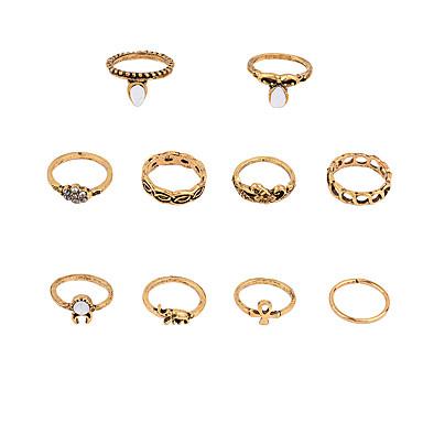 Pierścionki na palec środkowy Stop Round Shape euroamerykańskiej Yellow Biżuteria Ślub Impreza Specjalne okazje Codzienny Casual 1set