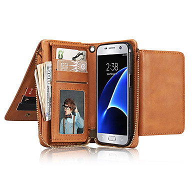 Kılıf Na Samsung Galaxy S7 edge S7 Etui na karty Portfel Flip Futerał Solid Color Miękkie Prawdziwa skóra na S7 edge S7 S6 edge S6 S5