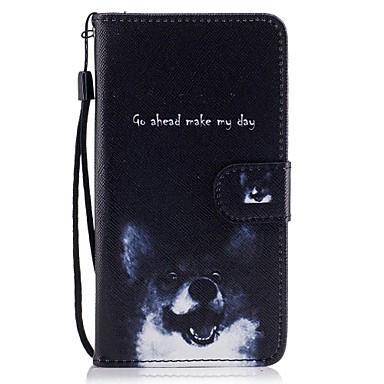 voordelige Galaxy J-serie hoesjes / covers-hoesje Voor Samsung Galaxy J5 (2017) / J5 (2016) / J5 Portemonnee / Kaarthouder / met standaard Volledig hoesje Hond Hard PU-nahka