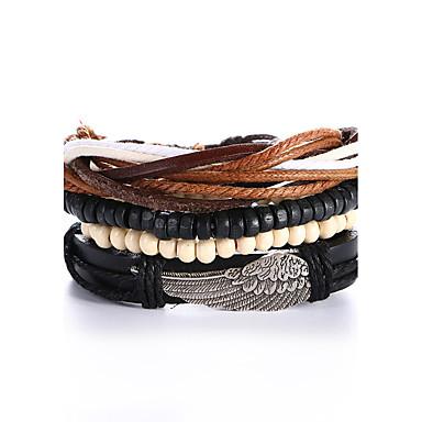 للرجال للمرأة أساور من الجلد بانغك جلد سبيكة دائري مجوهرات هدية الفالنتين مجوهرات أسود