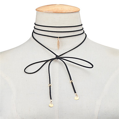 Damskie Line Shape Pióro Spersonalizowane Wisiorek Kutas Korygujący euroamerykańskiej Europejski Naszyjniki choker Biżuteria Stop