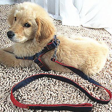 قط كلب أربطة المقاود قابل للسحبقابل للتعديل متنفس الأمان تدريب ركض سادة قماش أحمر أزرق أسود