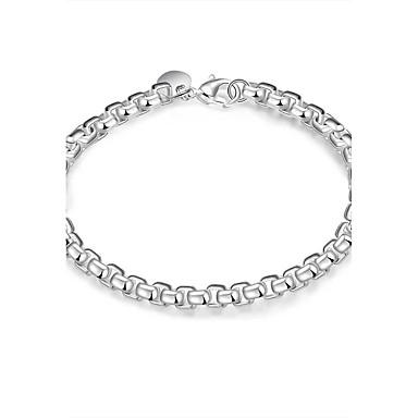 Kadın's Genç Kız Zincir & Halka Bileklikler Arkadaşlık Moda Eski Tip Gümüş Kaplama Square Shape Mücevher Uyumluluk Düğün Parti Özel Anlar