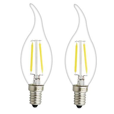 ONDENN 2pcs 3W 300 lm E14 E12 Żarówka dekoracyjna LED CA35 2 Diody lED COB Przysłonięcia Ciepła biel AC 220-240V AC 110-130V