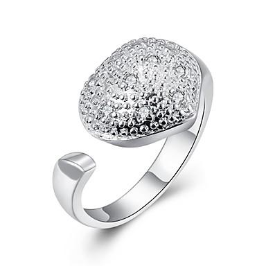 Kadın's Yüzük Kübik Zirconia Gümüş Zirkon Bakır Gümüş Kaplama Kalp Kişiselleştirilmiş Wzór geometryczny Eşsiz Tasarım Vintage Yapay elmas