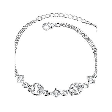 Γυναικεία Κοριτσίστικα Βραχιόλια με Αλυσίδα & Κούμπωμα Κρυστάλλινο Φιλία Μοντέρνα Πεπαλαιωμένο Επάργυρο Bowknot Shape Κοσμήματα Για Γάμου
