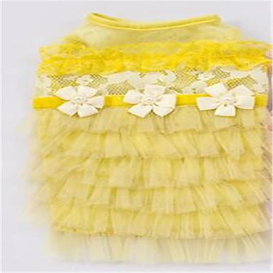 Pies Suknie Ubrania dla psów Urocza Stały Yellow Różowy Kostium Dla zwierząt domowych