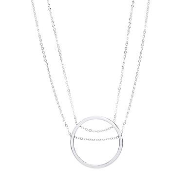 للمرأة Circle Shape تصميم دائري تصميم فريد هيب هوب أسلوب بسيط بريطاني قلائد الحلي مجوهرات سبيكة قلائد الحلي ، عيد ميلاد تهاني عمل