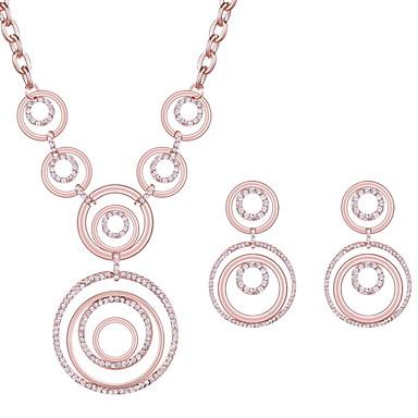 للمرأة اطقم ذهب و مجوهرات حجر الراين تصميم دائري حزب سبيكة دائري 1 زوج منالأقراط القلائد