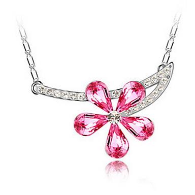 Kadın's Uçlu Kolyeler Kristal Flower Shape Arkadaşlık sevimli Stil Mücevher Uyumluluk Parti Doğumgünü