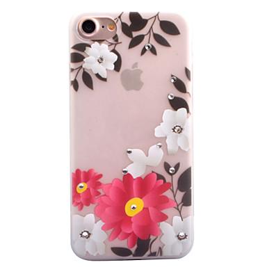 Pouzdro Uyumluluk Apple Taşlı Karanlıkta Parlayan Buzlu Yarı Saydam Temalı Arka Kılıf Çiçek Yumuşak TPU için iPhone 7 Plus iPhone 7