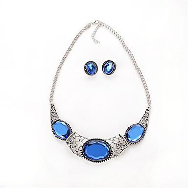 Γυναικεία Συνθετικό Aquamarine Κρύσταλλο Κοσμήματα Σετ 1 Ζευγάρι σκουλαρίκια Κολιέ - Κυκλικό Euramerican Μοντέρνα Οβάλ Μπλε Σετ Κοσμημάτων