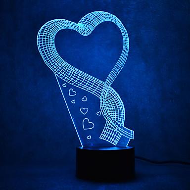 الحب اللمس يعتم 3d ليد ضوء الليل 7 الملونة الديكور جو مصباح الجدة الإضاءة الخفيفة
