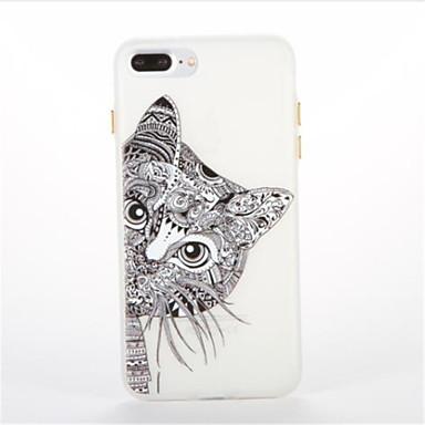 Etui Käyttötarkoitus Apple Hehkuu pimeässä Kuvio Takakuori Kissa Pehmeä TPU varten iPhone 7 Plus iPhone 7 iPhone 6s Plus iPhone 6 Plus