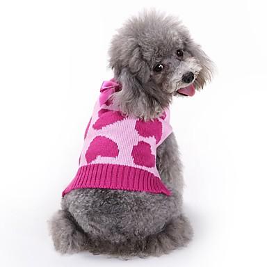 Pisici Câine Haine Pulovere Salopete Îmbrăcăminte Câini Inimă Trandafiriu Fibră Acrilică Costume Pentru animale de companie Bărbați
