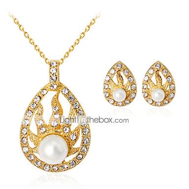 Damskie Zestawy biżuterii Klasyczny Modny Impreza Codzienny Imitacja pereł Kryształ górski Pozłacane Stop Kropla 1 Naszyjnik 1 parę
