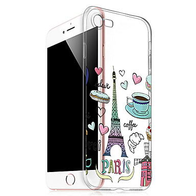 TPU Alimenti Torre iPhone Custodia 7 Plus Fantasia Eiffel 7 Apple iPhone 05745939 per Per disegno Per 7 Transparente iPhone retro Morbido Plus xOOFCan