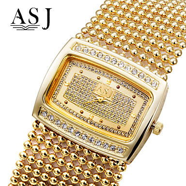 Kadın's Moda Saat Bilezik Saat Sahte Elmas Saat Kol Saatleri Japonca Quartz Taşlı imitasyon Pırlanta Bakır Bant Lüks Işıltılı Zarif Gümüş