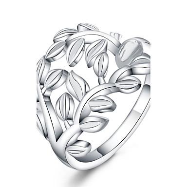 Kadın's Gümüş Kaplama Leaf Shape Yüzük - Leaf Shape Euramerican Uyumluluk Günlük