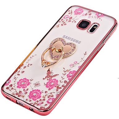 Pouzdro Uyumluluk Samsung Galaxy S7 edge S7 Taşlı Kaplama Yüzüklü Tutacak Yarı Saydam Kendin-Yap Arka Kılıf Çiçek Yumuşak TPU için S7