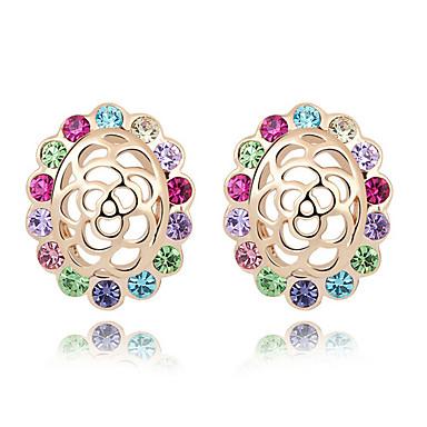 Damskie Kolczyki na sztyft Kryształ Spersonalizowane Kwiatowy Kwiat Kwiaty Modny euroamerykańskiej Flower Shape Biżuteria Na Ślub Impreza